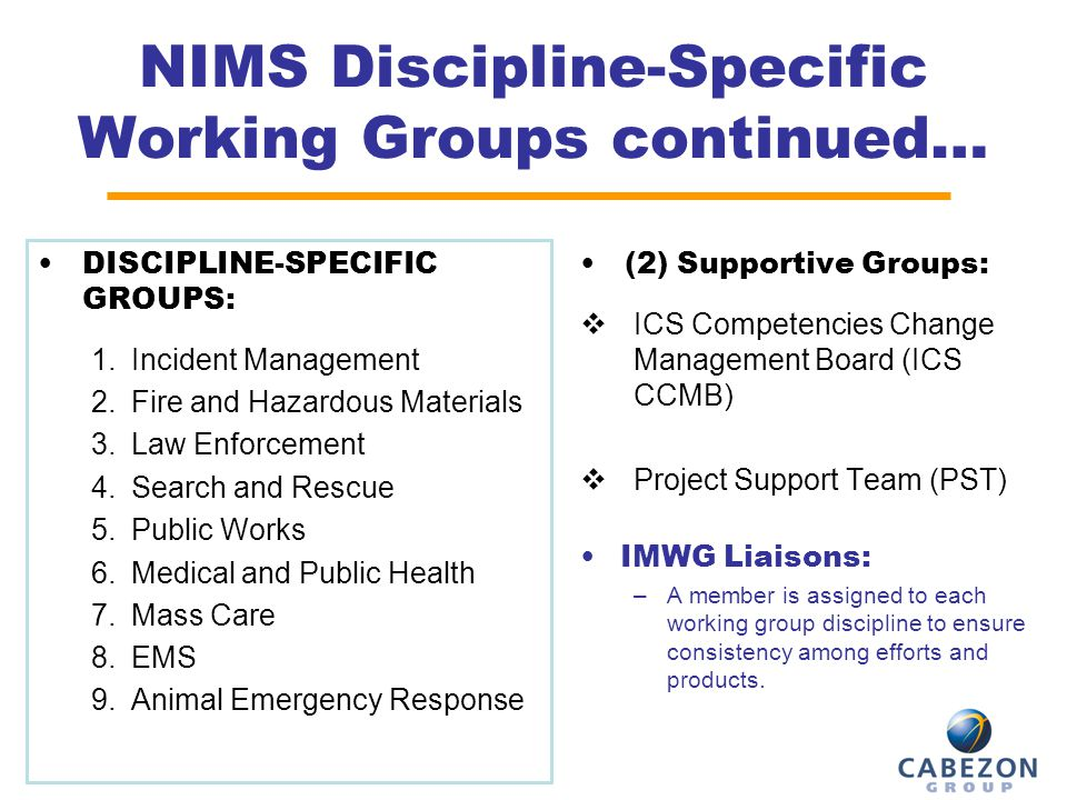 NIMS Discipline-Specific Working Groups continued…