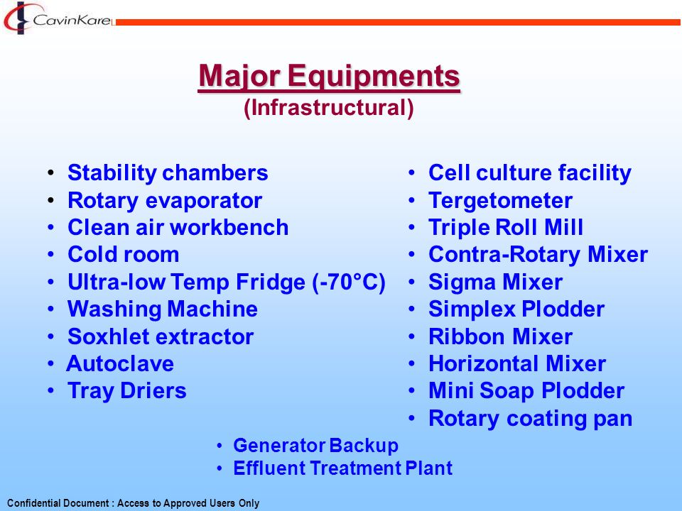 Major Equipments (Infrastructural) Stability chambers