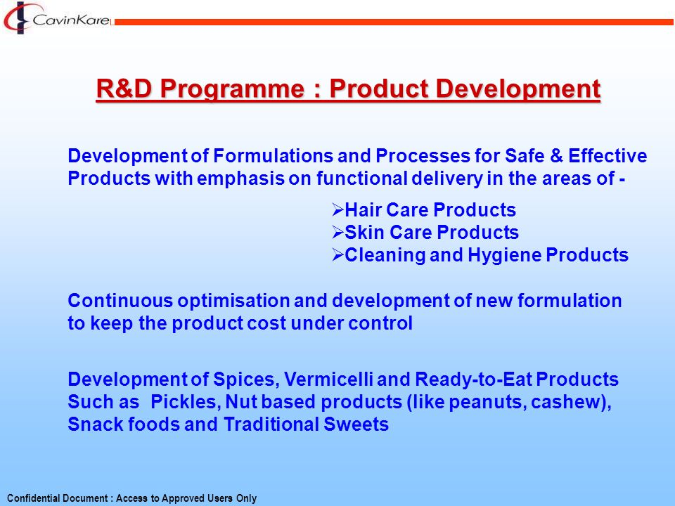 R&D Programme : Product Development