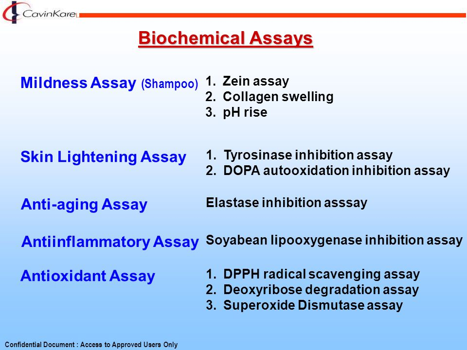 Biochemical Assays Mildness Assay (Shampoo) Skin Lightening Assay