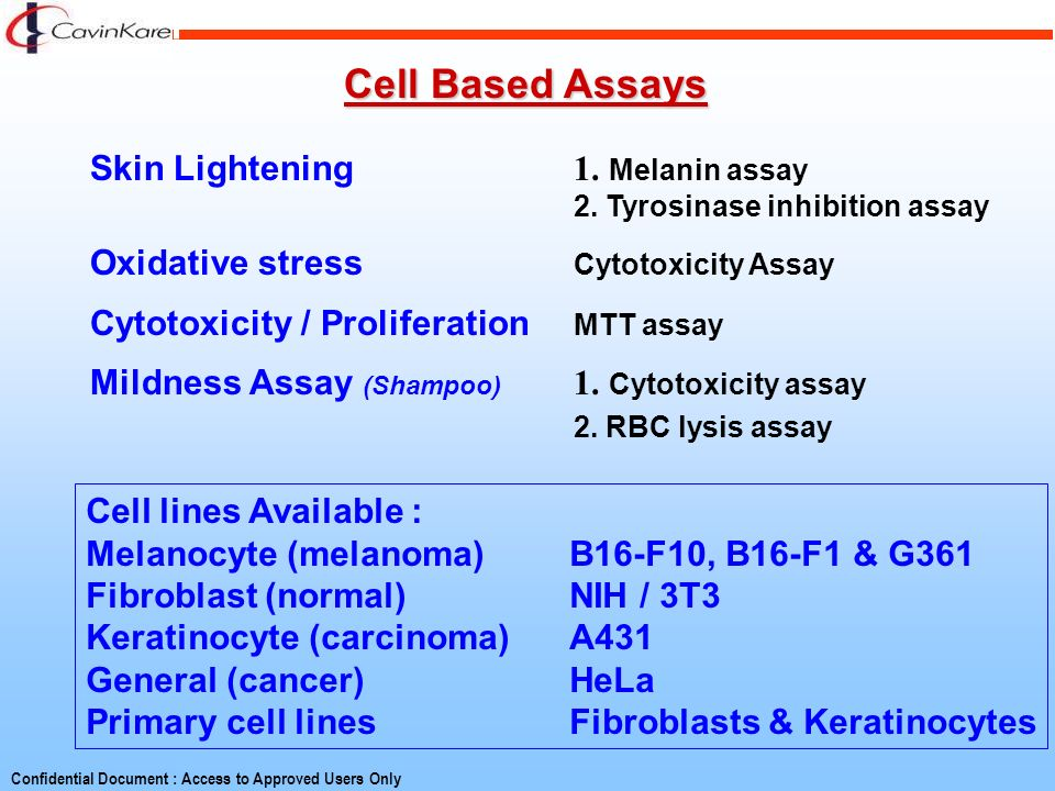 Cell Based Assays Skin Lightening 1. Melanin assay