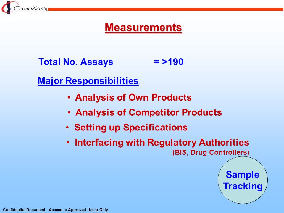 Measurements Total No. Assays = >190 Major Responsibilities