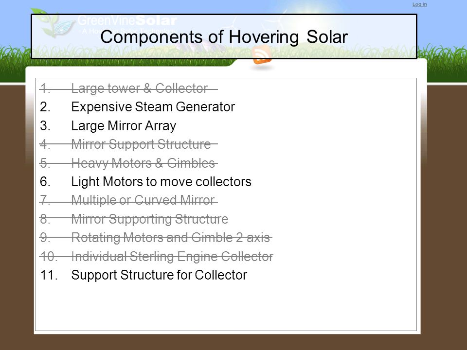 Components of Hovering Solar