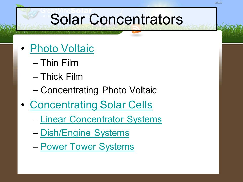 Solar Concentrators Photo Voltaic Concentrating Solar Cells Thin Film