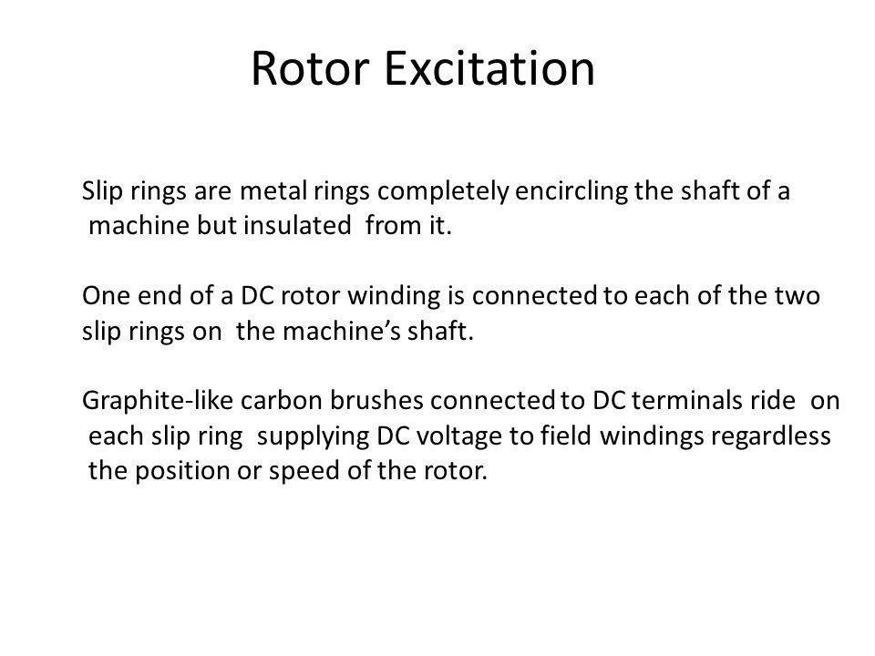 Rotor Excitation Slip rings are metal rings completely encircling the shaft of a. machine but insulated from it.