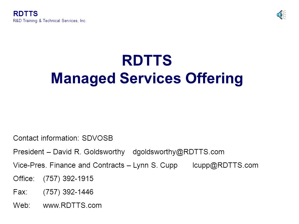 RDTTS Managed Services Offering