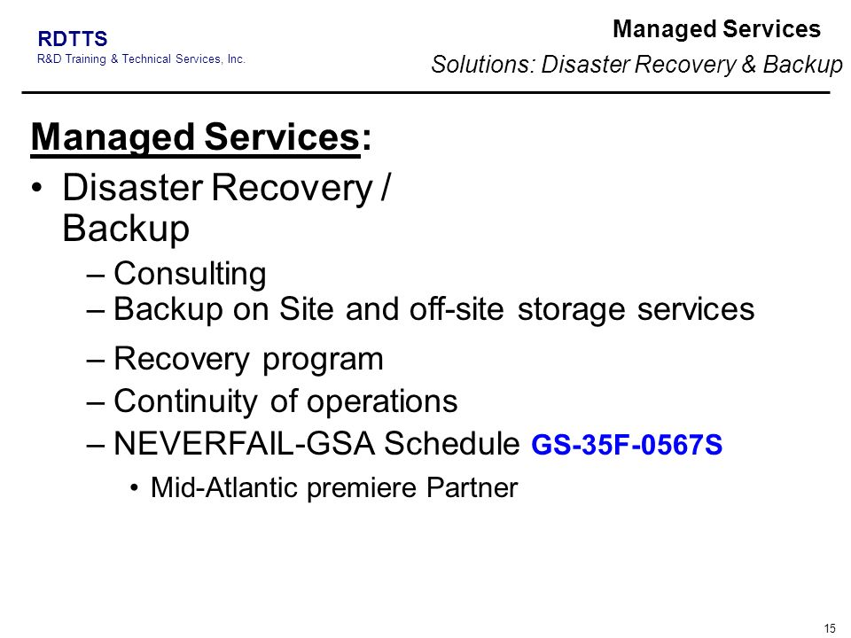 Solutions: Disaster Recovery & Backup