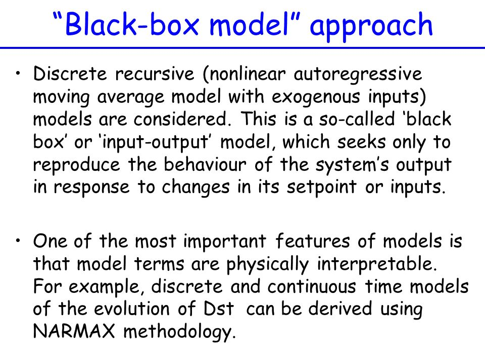 Black-box model approach