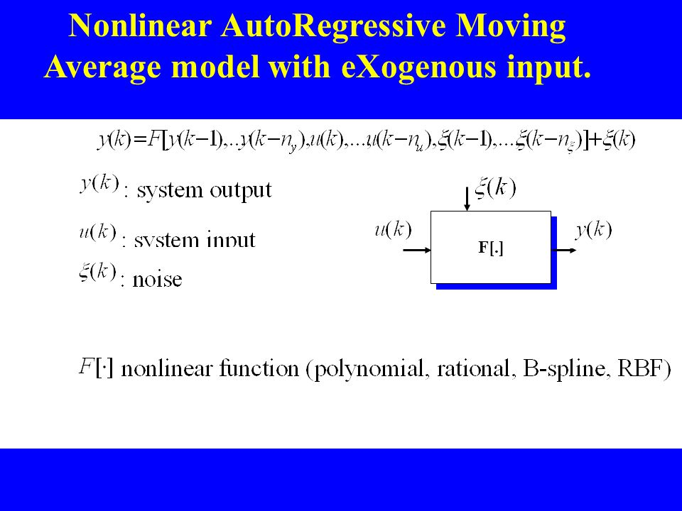 Nonlinear AutoRegressive Moving Average model with eXogenous input.