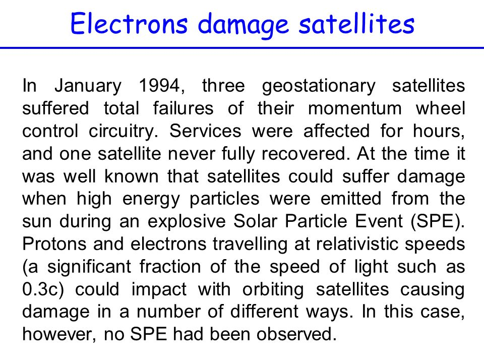Electrons damage satellites