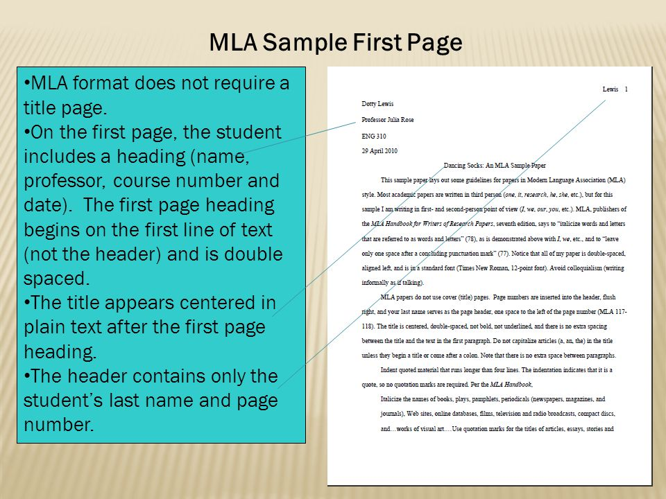 MLA Sample First Page MLA format does not require a title page.