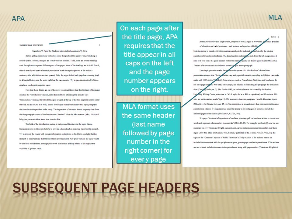 Subsequent Page headers