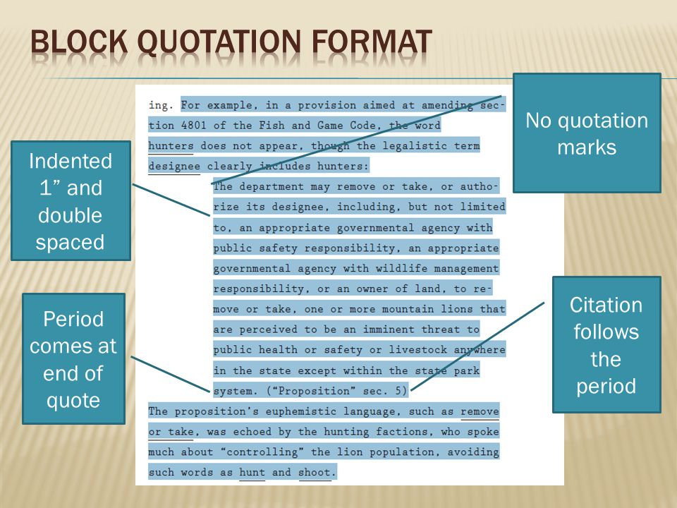 Block Quotation format