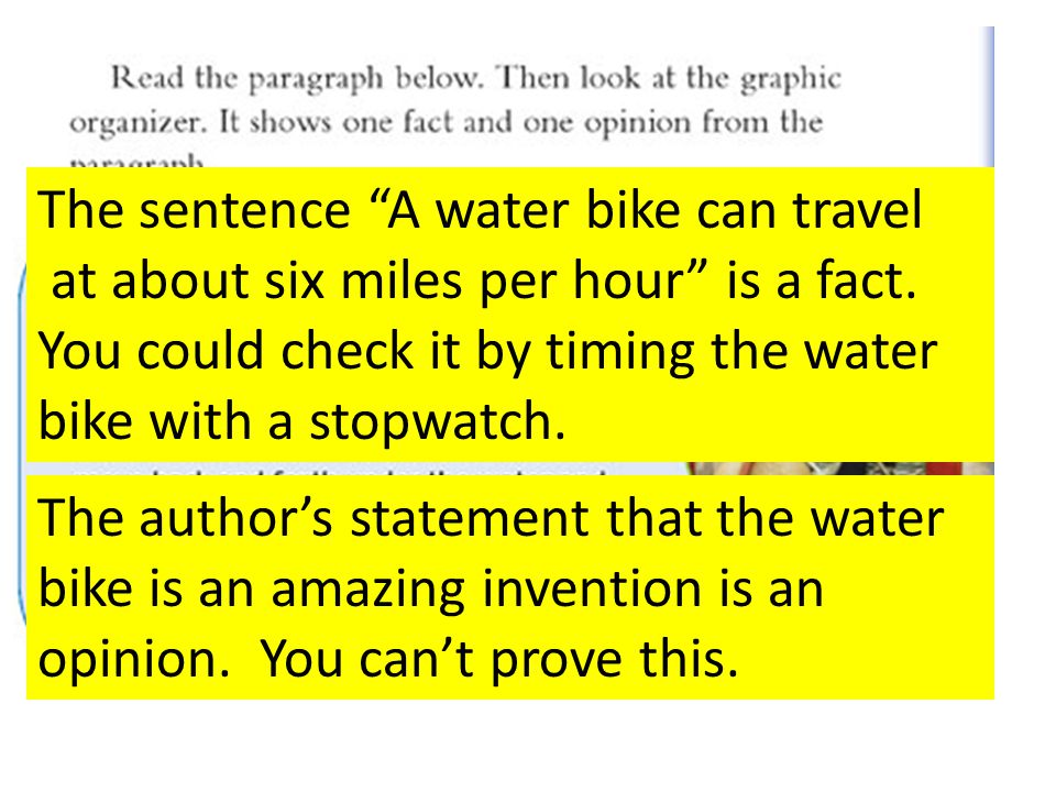 The sentence A water bike can travel