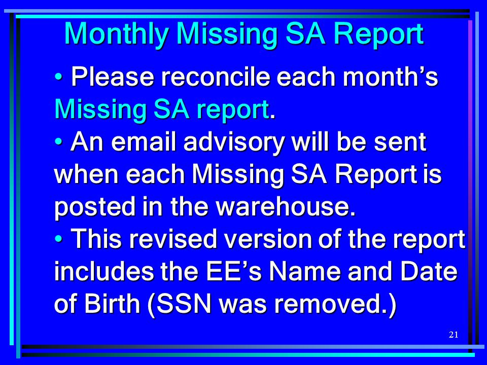 Monthly Missing SA Report