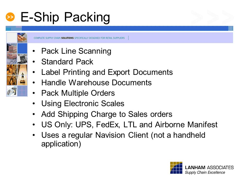E-Ship Packing Pack Line Scanning Standard Pack