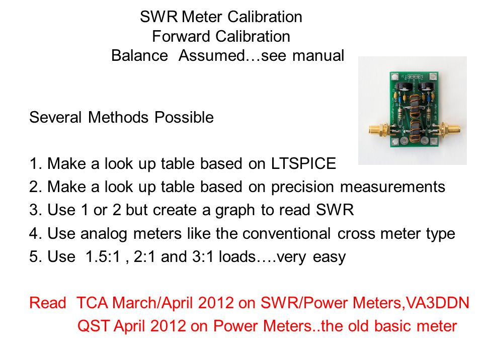 SWR Meter Calibration Forward Calibration Balance Assumed…see manual
