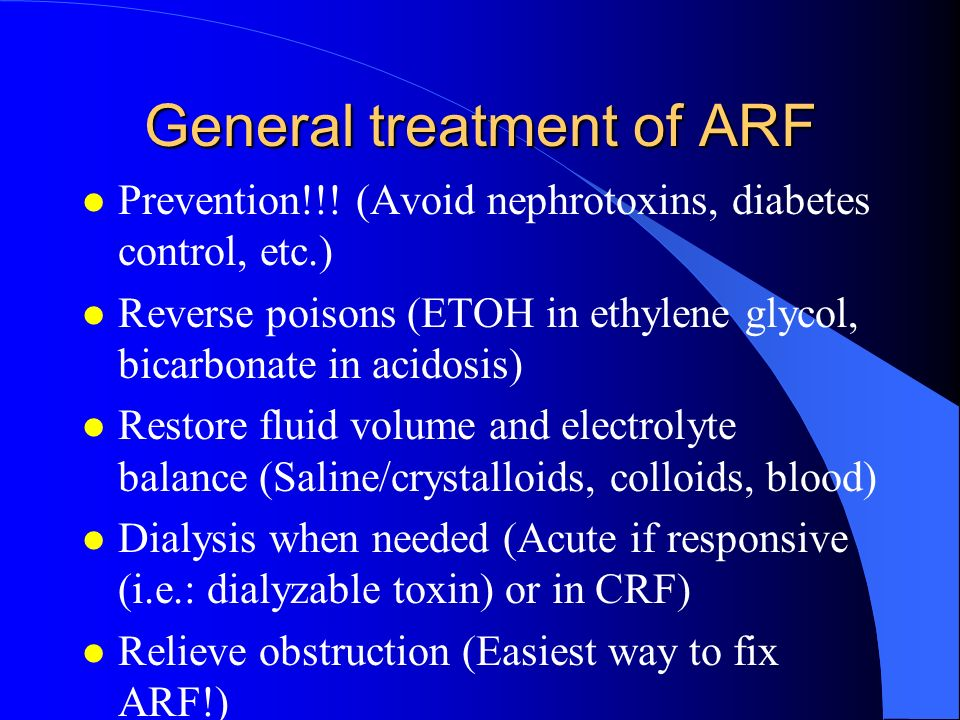 General treatment of ARF