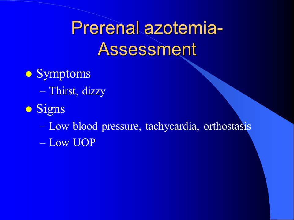 Prerenal azotemia-Assessment