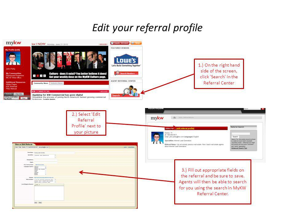 Edit your referral profile