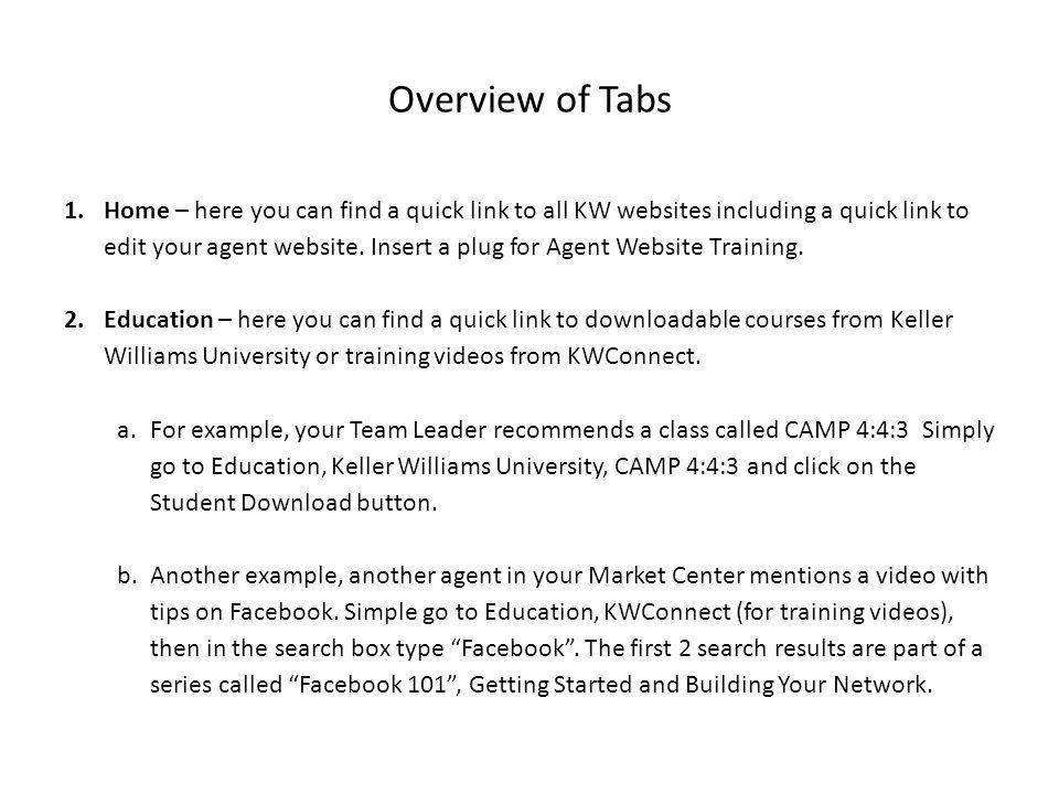 Overview of Tabs