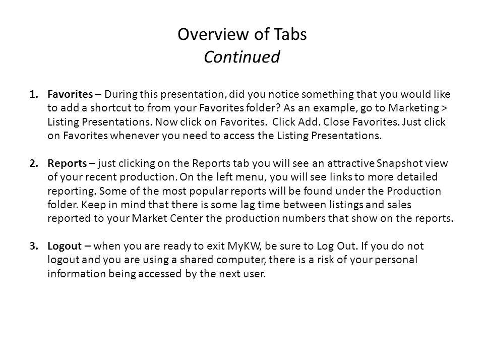 Overview of Tabs Continued