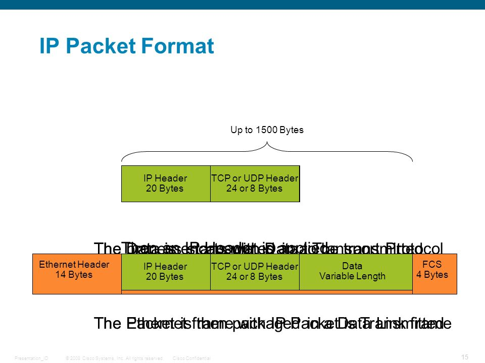 IP Packet Format The Data is encapsulated in a Transport Protocol