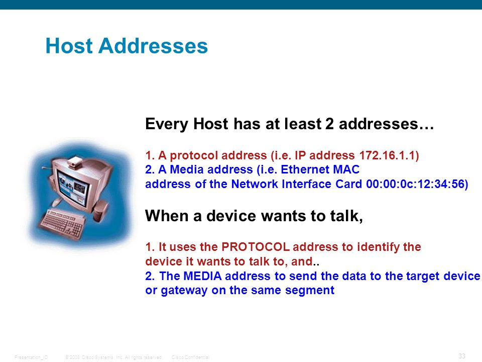 Host Addresses Every Host has at least 2 addresses…
