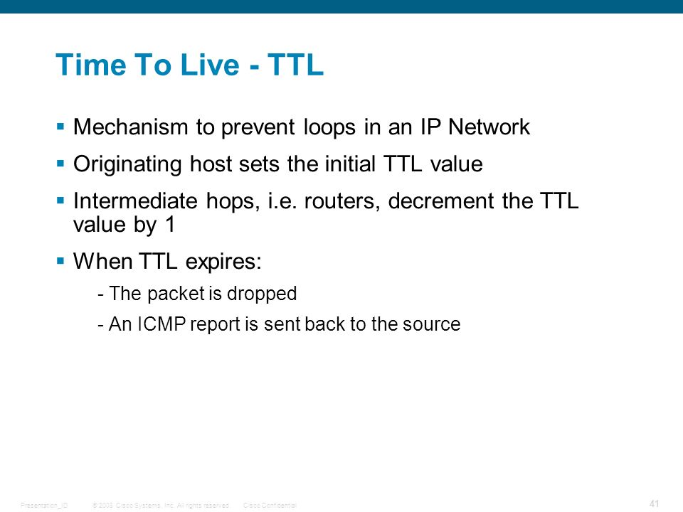 Time To Live - TTL Mechanism to prevent loops in an IP Network