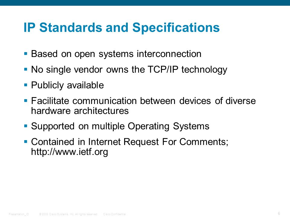 IP Standards and Specifications