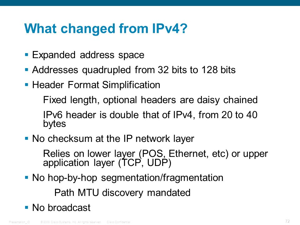What changed from IPv4 Expanded address space