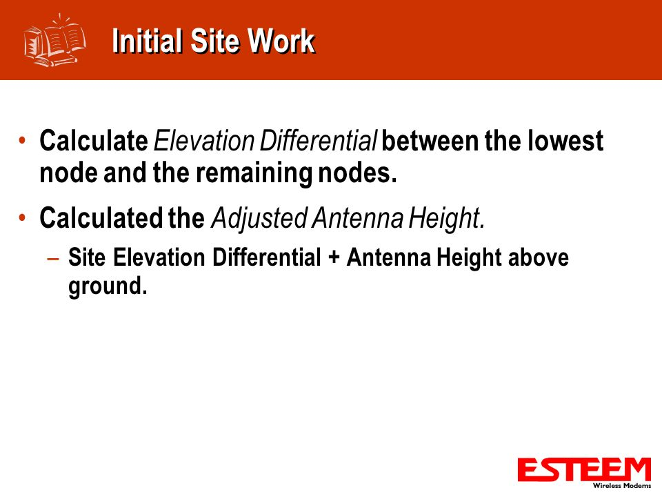 Initial Site Work Calculate Elevation Differential between the lowest node and the remaining nodes.