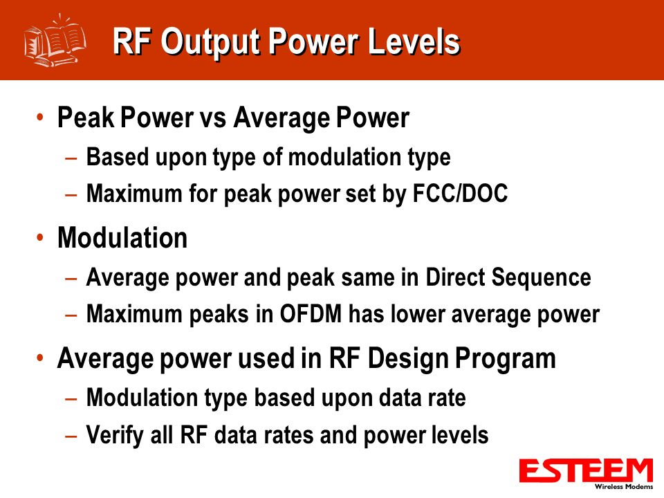 RF Output Power Levels Peak Power vs Average Power Modulation