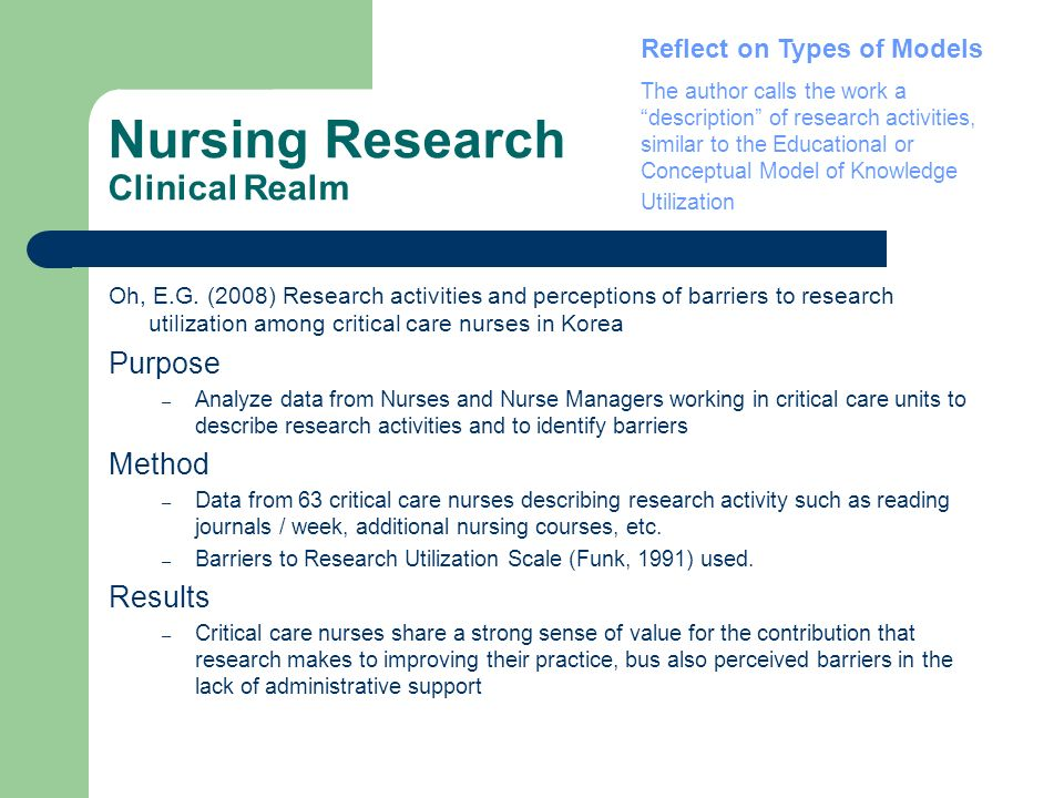 Nursing Research Clinical Realm