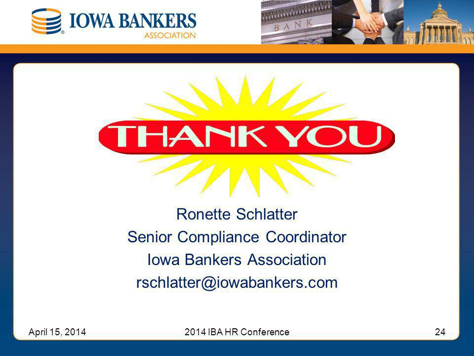 Senior Compliance Coordinator Iowa Bankers Association