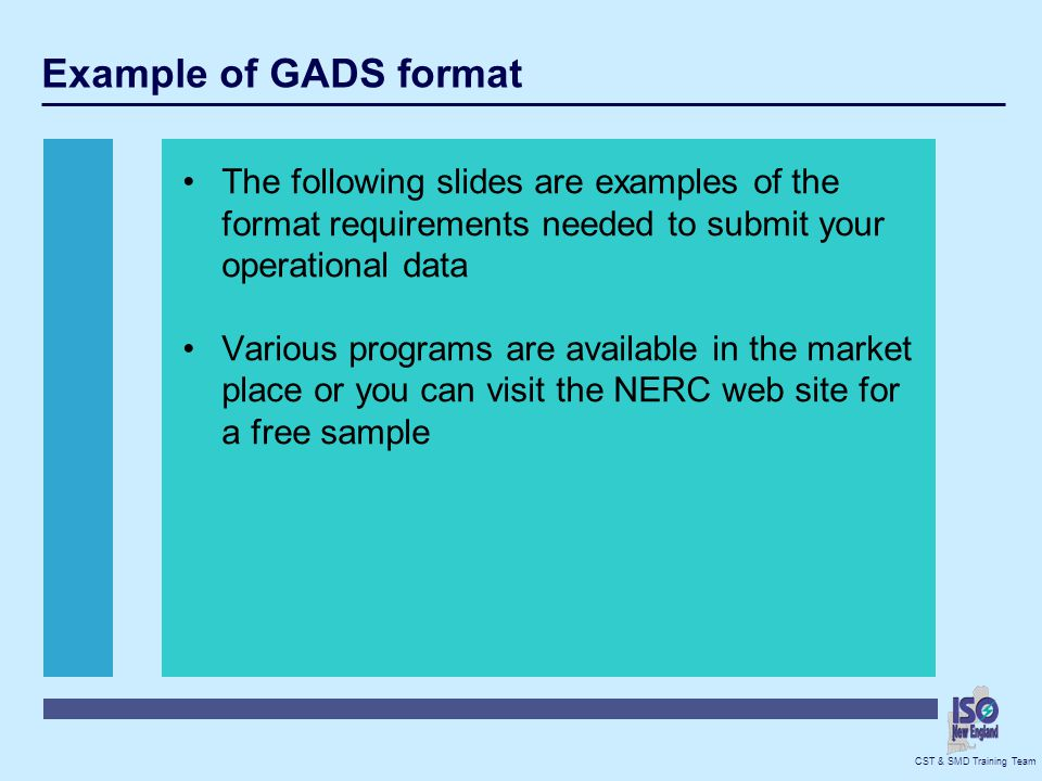Example of GADS format The following slides are examples of the format requirements needed to submit your operational data.