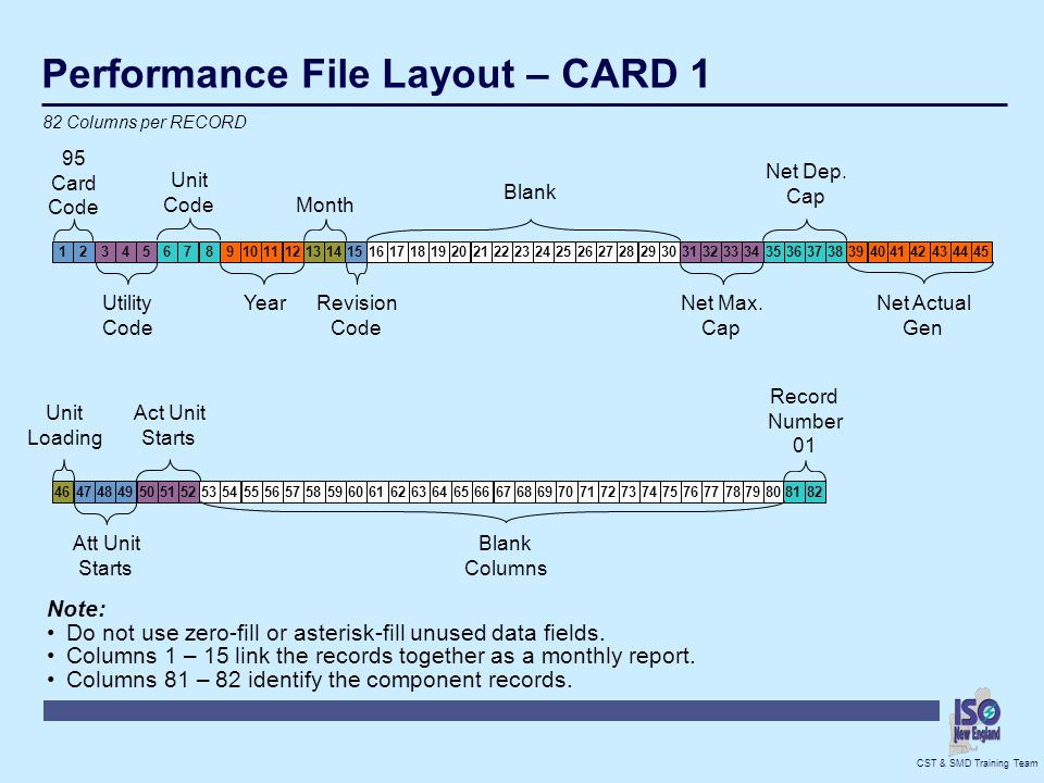 Performance File Layout – CARD 1