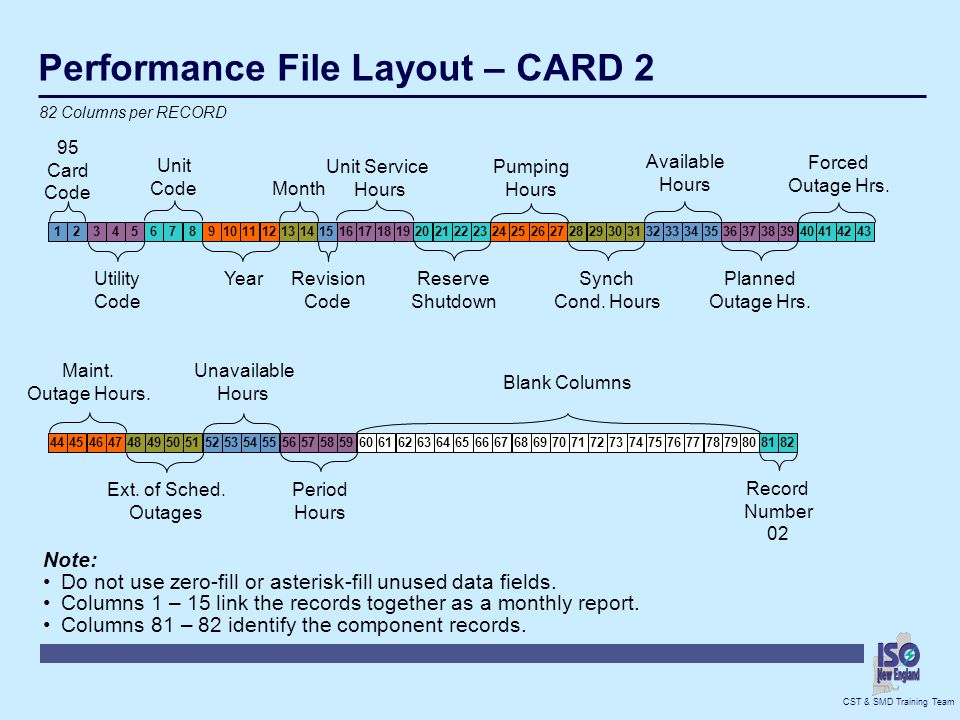 Performance File Layout – CARD 2