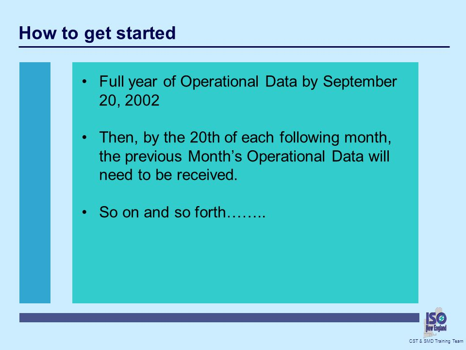 How to get started Full year of Operational Data by September 20, 2002