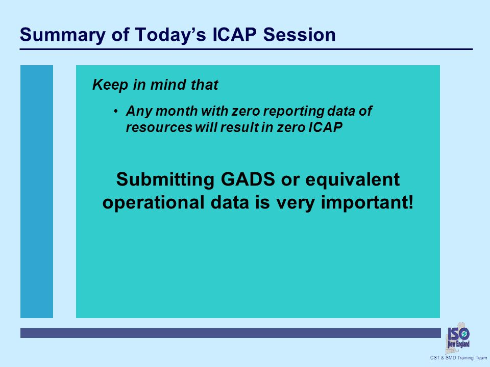 Summary of Today's ICAP Session