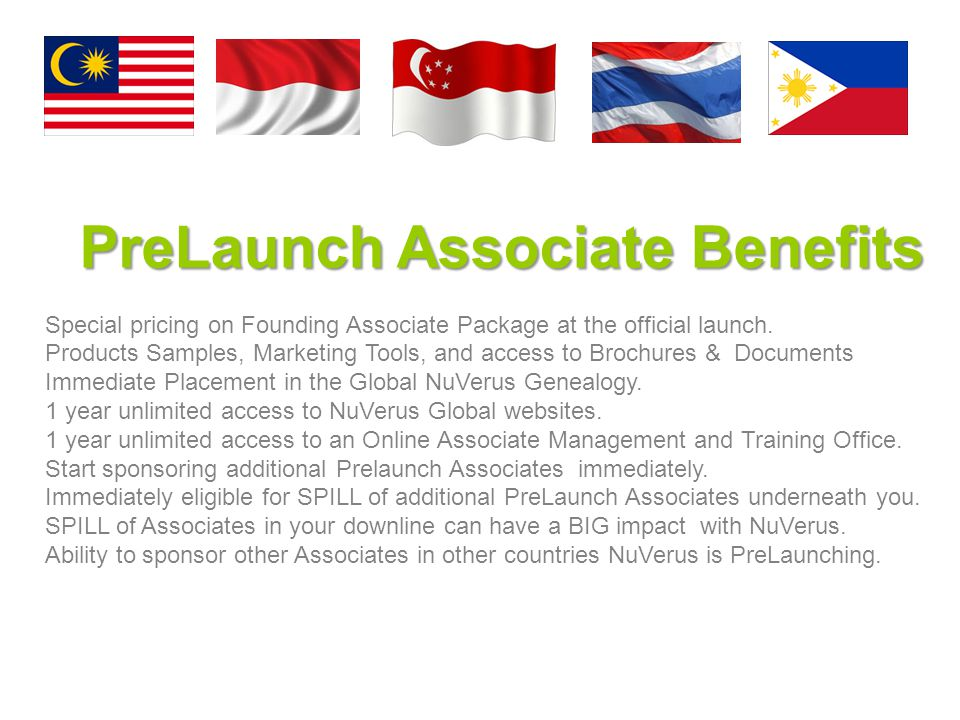 PreLaunch Associate Benefits