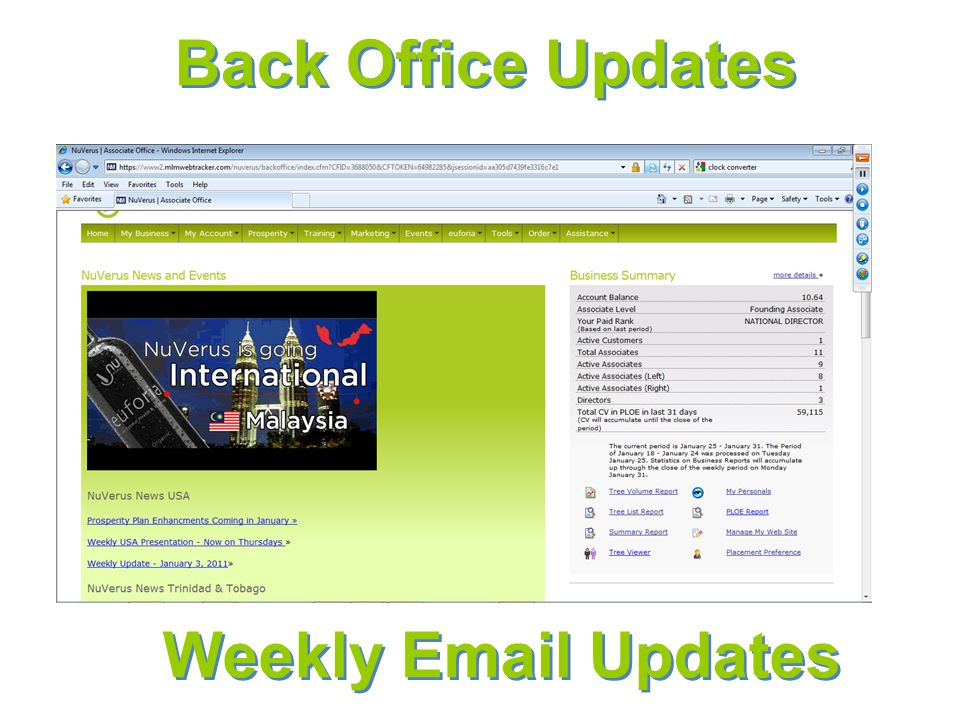 Back Office Updates Weekly Email Updates