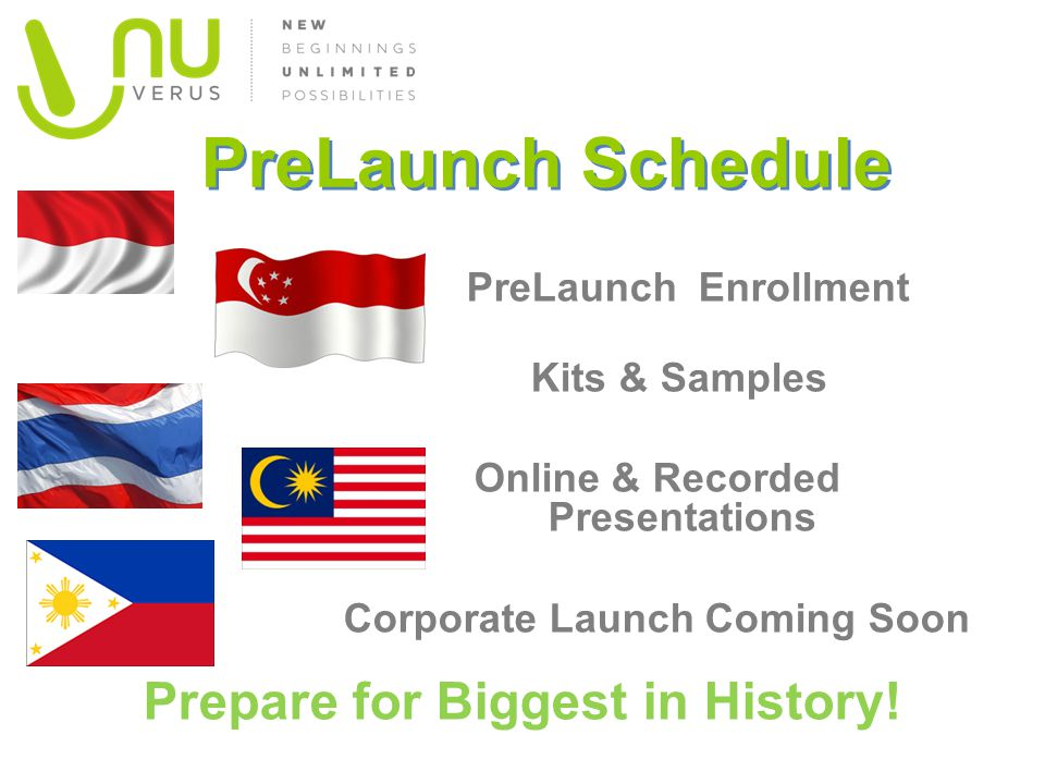 PreLaunch Schedule Prepare for Biggest in History!