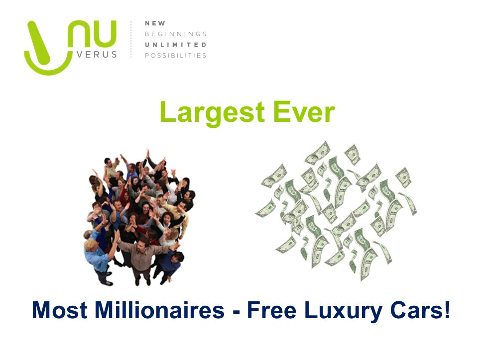 Largest Ever Most Millionaires - Free Luxury Cars!