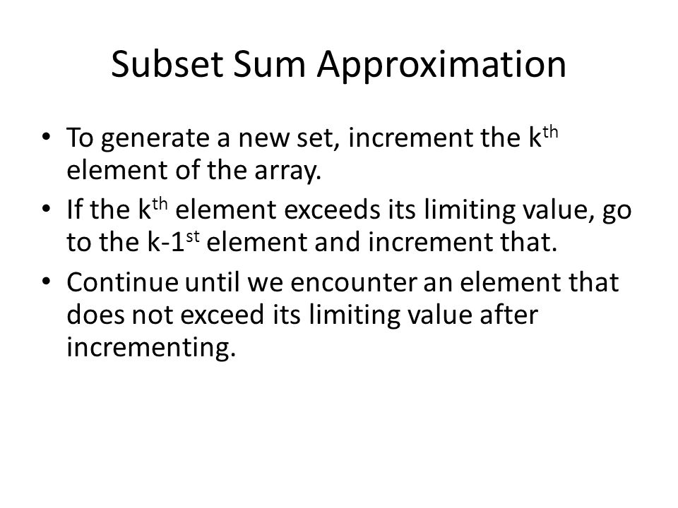 Subset Sum Approximation