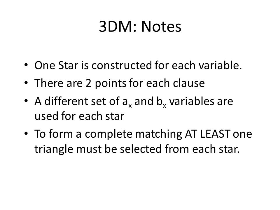 3DM: Notes One Star is constructed for each variable.