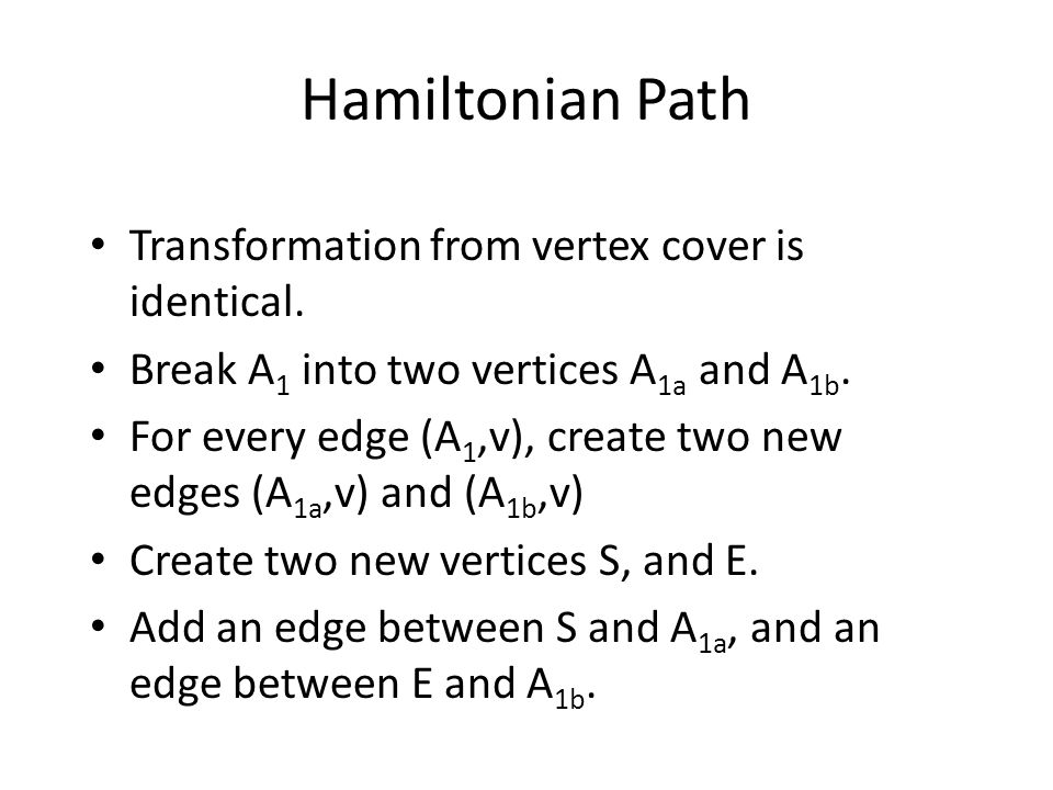 Hamiltonian Path Transformation from vertex cover is identical.