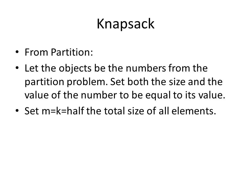 Knapsack From Partition: