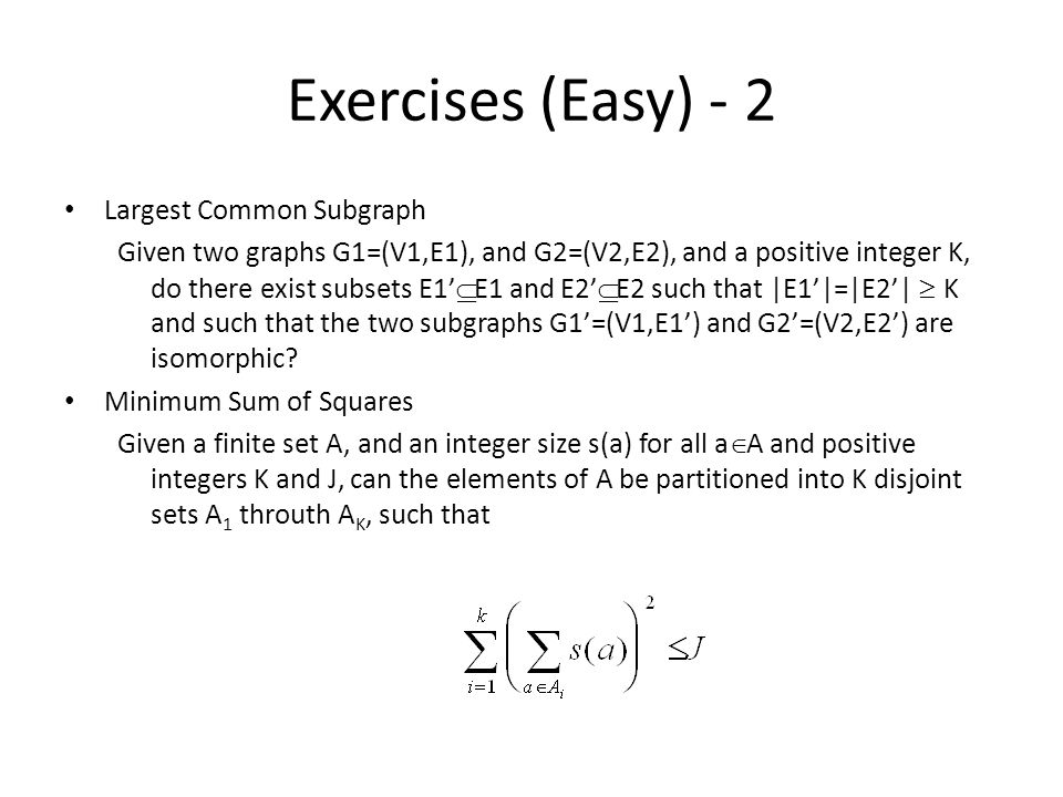 Exercises (Easy) - 2 Largest Common Subgraph