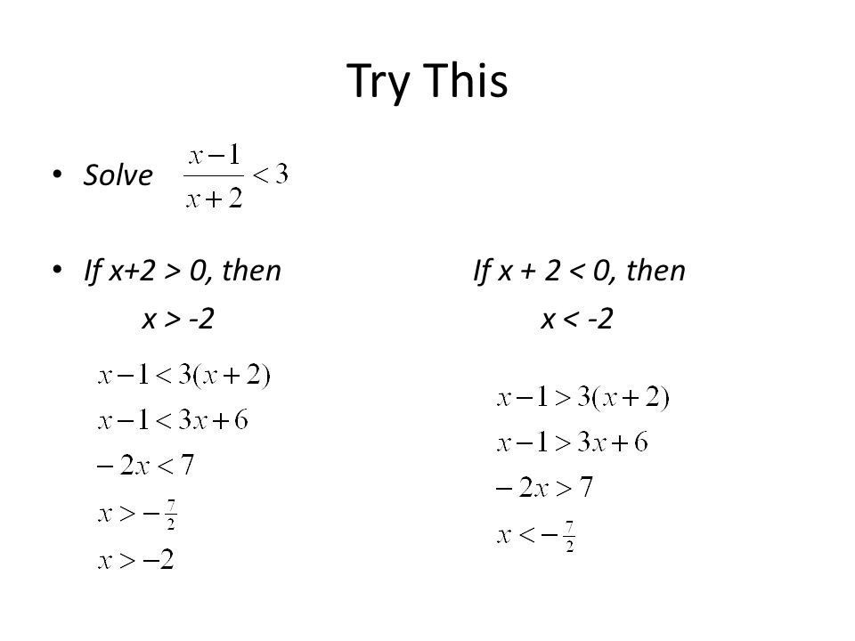 Try This Solve If x+2 > 0, then If x + 2 < 0, then